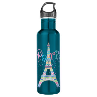 Eiffel Tower Confetti 24 oz. Electric Blue Water Bottle