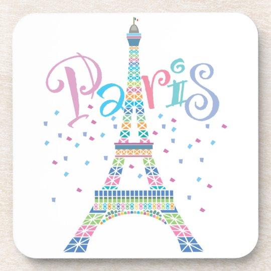 Eiffel Tower Confetti cork coaster set