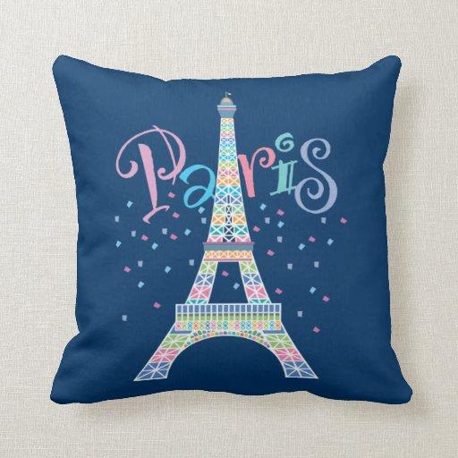 Paris Eiffel Tower Pillow 16 X 16: Eiffel Tower Confetti Pillow