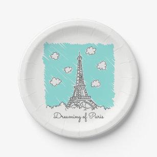 Eiffel Tower custom text paper plates  sc 1 st  Zazzle & Cute Eiffel Tower Plates | Zazzle