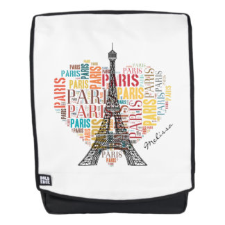 Eiffel Tower | Cute Colorful Paris in Heart Backpack