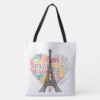 Eiffel Tower | Cute Colorful Paris in Heart Tote Bag