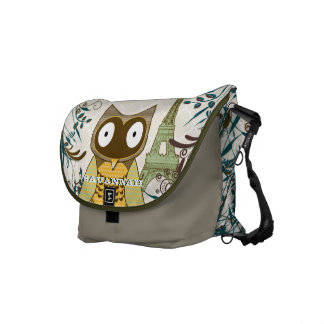 Eiffel Tower Cute Owl You Choose Colors Messenger Bag
