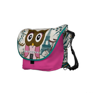 Eiffel Tower Cute Pink Owl You Choose Colors Courier Bag