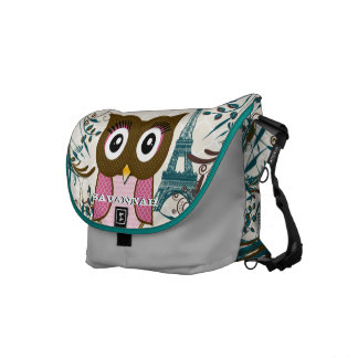 Eiffel Tower Cute Pink Owl You Choose Colors Messenger Bag