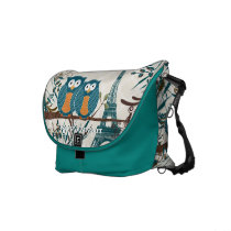 Eiffel Tower Cute Teal Owls You Choose Colors Courier Bag