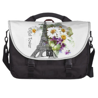 Eiffel Tower Daisies and Violets Laptop Commuter Bag