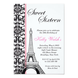 Eiffel Tower Damask Paris Sweet Sixteen Invitation