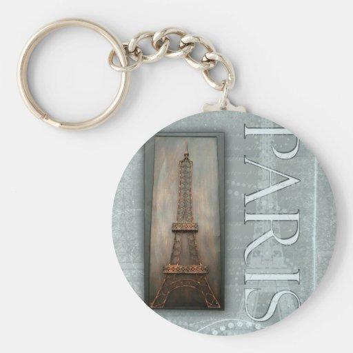 Eiffel Tower Design Basic Round Button Keychain