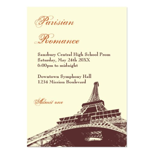 Eiffel Tower ecru prom bid custom admission ticket Business Card Template