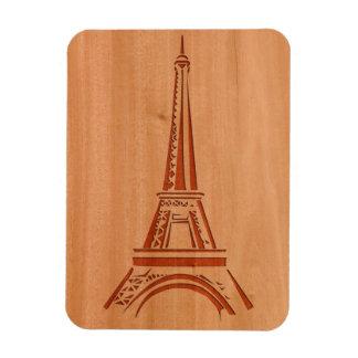 Eiffel Tower engraved on wood effect Rectangular Photo Magnet