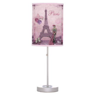 Eiffel Tower Fashion Collage in Lavender & Pink Desk Lamp