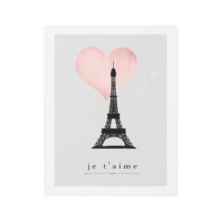 Eiffel Tower | Faux Rose Gold Heart Je T'aime Metal Photo Print