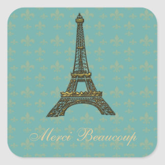 Eiffel Tower Fleur de Lis Vintage Green Square Sticker