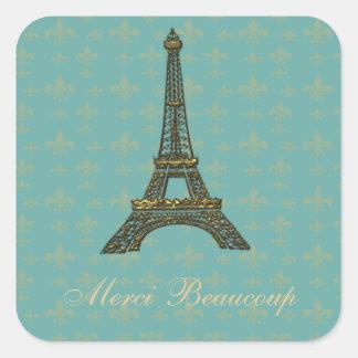 Eiffel Tower Fleur de Lis Vintage Green Square Sticker