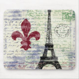 grunge grungy Eiffel Tower France Mousepad with fleur de lis and old-fashioned vintage retro handwriting