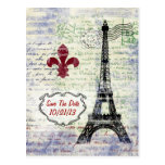 Eiffel Tower France Save The Date Postcard