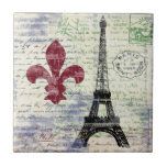 "Eiffel Tower France Tile<br><div class=""desc"">A distressed collage design featuring iconic French images,  vintage sheet music,  and vintage French handwriting from my personal collection of very old postcards.</div>"