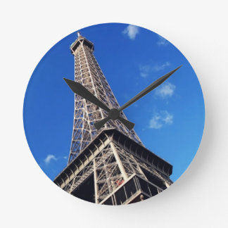 Eiffel Tower France Travel Photography Round Clock