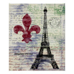 Eiffel Tower France Vintage Art Poster