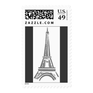 Eiffel Tower French Black Paris Postage Stamp