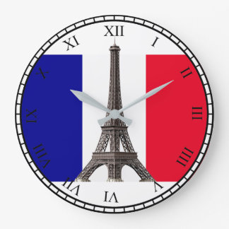 Eiffel Tower French Flag Bk Roman Numbers Rd Clock