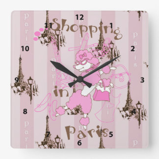 Eiffel Tower & French Poodle - Shopping in Paris Square Wall Clock