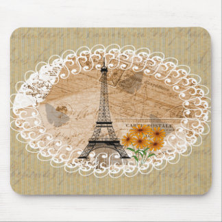 Eiffel Tower French Postcards Mouse Pad