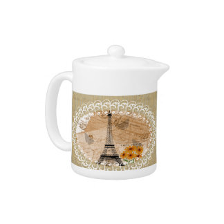 Eiffel Tower French Postcards Teapot