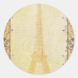 Eiffel Tower French theme Classic Round Sticker
