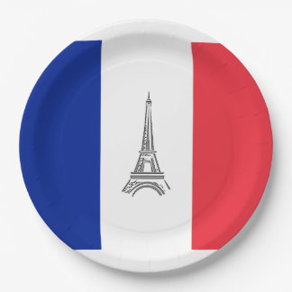Eiffel Tower French Themed Party Paper Plates