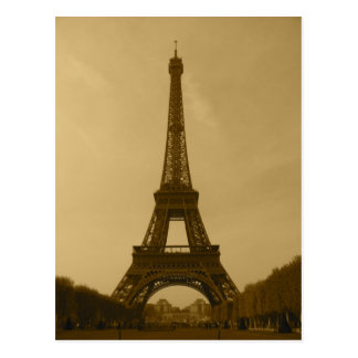 Eiffel Tower front view sepia Postcard