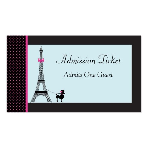 Eiffel Tower Girl Admission Ticket Business Cards