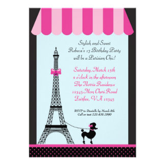 Eiffel Tower Girl Birthday Invitation
