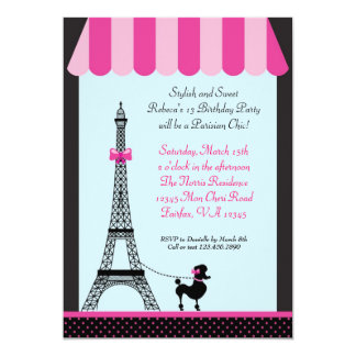 French cafe invitations announcements zazzle eiffel tower girl birthday invitation stopboris Image collections