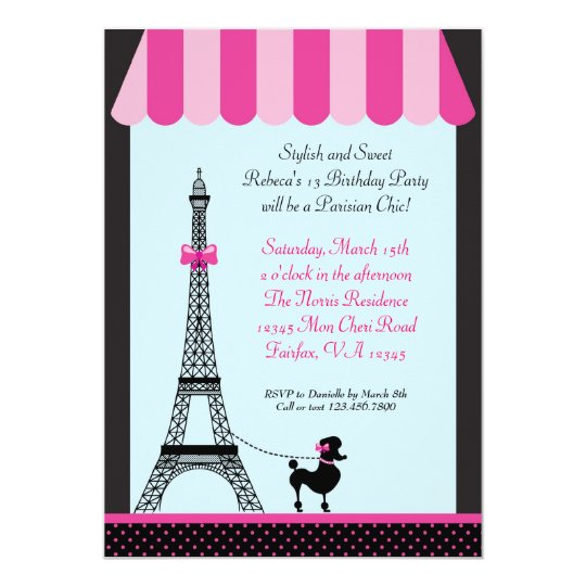 Eiffel tower girl birthday invitation zazzle eiffel tower girl birthday invitation filmwisefo
