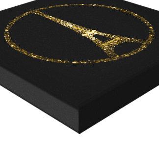 Eiffel Tower gold glitter sparkles on Black Canvas Print