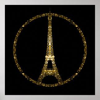 Eiffel Tower gold glitter sparkles on Black Poster