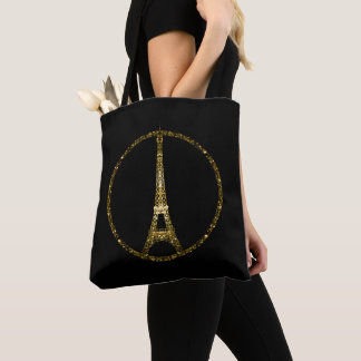 Eiffel Tower gold glitter sparkles on Black Tote Bag