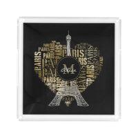 Eiffel Tower | Golden Inscriptions Paris in Heart Acrylic Tray