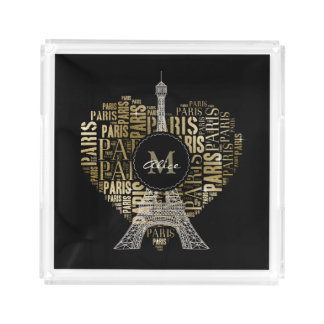 Eiffel Tower | Golden Inscriptions Paris in Heart Acrylic Tray