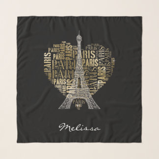 Eiffel Tower | Golden Inscriptions Paris in Heart Scarf