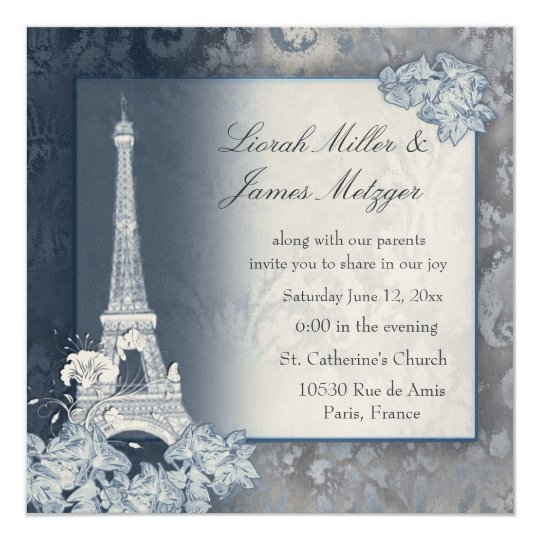 Eiffel Tower golden metallic invitation
