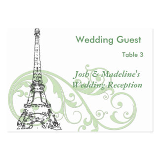Eiffel Tower & Green Scroll Reception Table cards Business Card Template