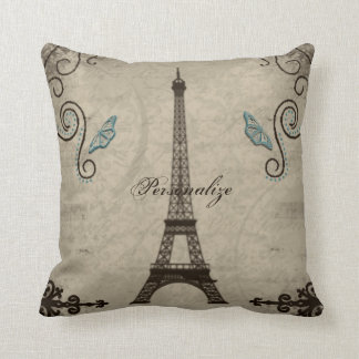 Eiffel Tower Grunge American MoJo Pillow