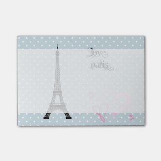 Eiffel Tower, Hearts, Polka Dots - Black Pink Blue Post-it® Notes