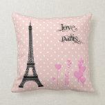 Eiffel Tower, Hearts, Polka Dots - Black Pink Throw Pillows