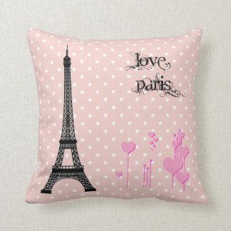 Eiffel Tower, Hearts, Polka Dots - Black Pink Throw Pillow