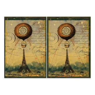 Eiffel Tower & Hot Air Balloon Steampunk Style Business Card Template