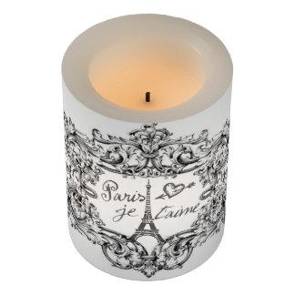 """Eiffel Tower """"I love Paris"""" """"Paris Je taime"""" Flameless Candle"""
